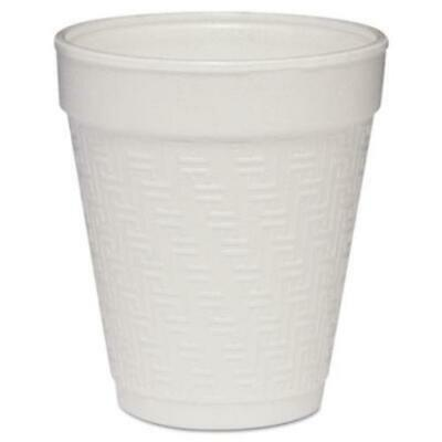 Dart DCC8KY8 Small Foam Drink Cup, 8oz, Hot/cold, White W/greek Key Design,