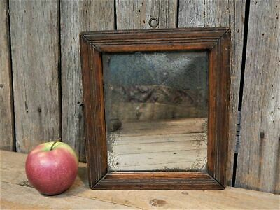 Best Early Antique Primitive Simple Small Wood Framed Mirror AAFA