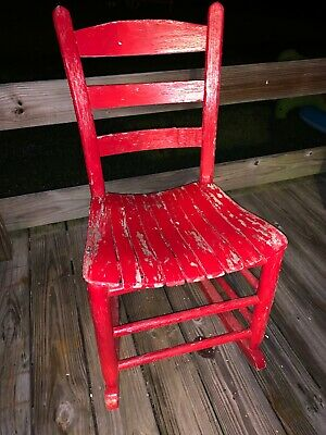 Antique Wooden Red Rocking Chair