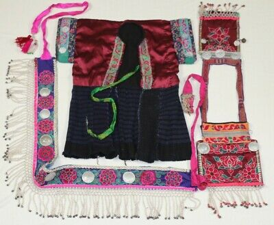 Chinese miao people old local cloth hand embroidery jacket vest waistbelt (1set)