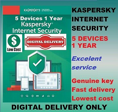 Kaspersky Internet Security Antivirus 2019 2020 5 Users Device PC 1 Year GLOBAL