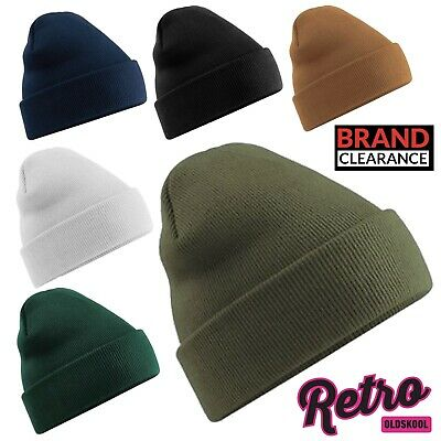 RETRO Original Style Cuffed Beanie Beechfield Luxury Winter Hat Thermal Cuffed