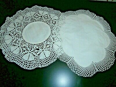 """TWO VICTORIAN WHITE COTTON with HAND CROCHET LACE ROUND DOILIES 10"""" dia"""