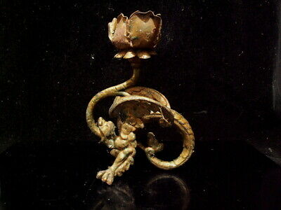 Antique 19Th Century Chinese Qing Style Iron Dragon Candlestick Chamber Stick
