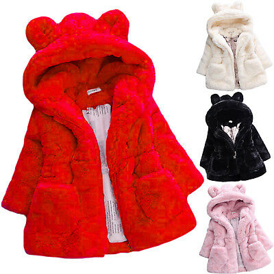 Kids Girl Bunny Ears Hooded Coat Baby Faux Fur Fleece Warm Jacket Outwear Winter