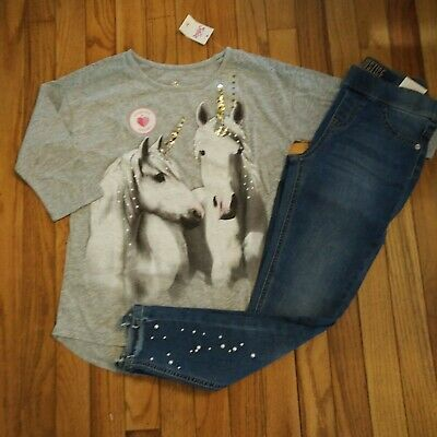 NWT Justice Girls Outfit Pearl Sequin Unicorn Top/Pearl Jean Legging Size 10