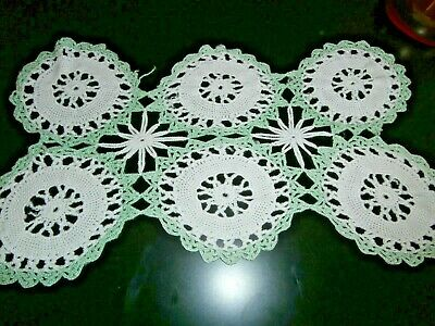 "VINTAGE WHITE & GREEN  COTTON HAND WORKED CROCHET LACE MAT/DOILY ~ 15"" x 9 1/2"""