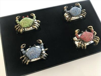 Turnwald Set 4 CRAB Silver Napkin Rings BEACH Decor Nautical Sea Jewels Signed