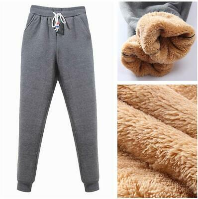 Womens Winter Sport Pants Thick Lamb Fur Lined Comfy Warm Loose Joggers Trousers