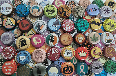 100 Mixed Home Brew Beer Bottle Crown Caps (85 DIFFERENT!) Rare & Unique
