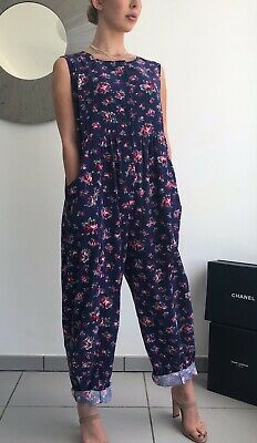 Vintage Laura Ashley Needlecord Floral Romper Playsuit Jumpsuit M Pockets