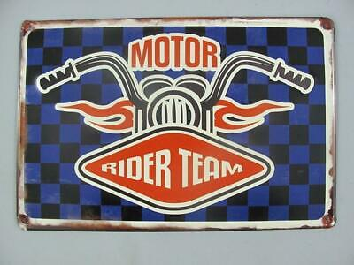 Metal Sign,Advertisement Sign Motor Rider Team, Motorcycle Wall 7 7/8x11 13/16in
