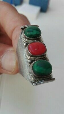 Antique Silver Coral Malachite Ring Handmade Sterling Size 11 Stones Solid Old