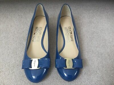Salvatore Ferragamo Vara Deep Sky Blue Patent Leather Shoes with Bow UK2.5 US5