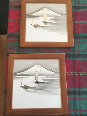 "Vintage Japanese Hand Painted Art Tiles Bamboo Frames 7 1/4"" Sq"
