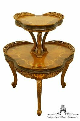 """1920's French Provincial Louis XVI Ornately Carved Tiered 27"""" Accent Table w...."""