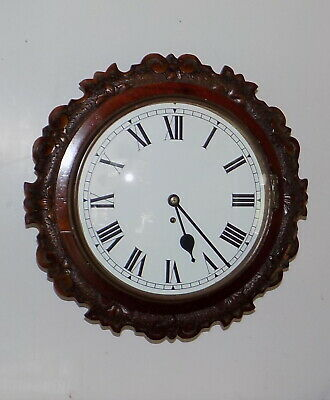 "Ornate Mahogany 12"" Round Dial Domed Glass Fusee Wall Clock - Fully Working"