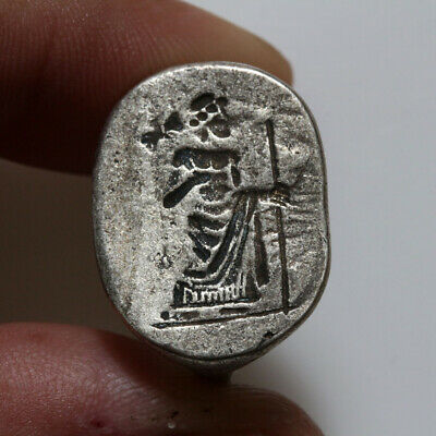 Ancient Greek Silver Seal Ring Circa 500-100 Bc - Very Rare