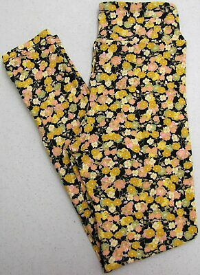 LuLaRoe Tween Leggings Floral Flowers Black Yellow Pink Mint Kids Girls New NWOT