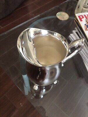 Vintage Silver Plate Silver-Plated Footed Water Pitcher With Ice Lip 8.5""