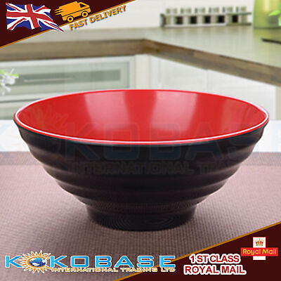 1x Plastic Oriental Japanese Black Checked Ramen Noodle Rice Soup Bowl Chinese