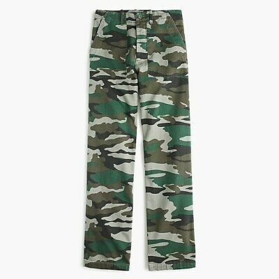 J. Crew G7928 Sold-Out Straight Leg Button Camouflage Foundry Pants NWT Size 0