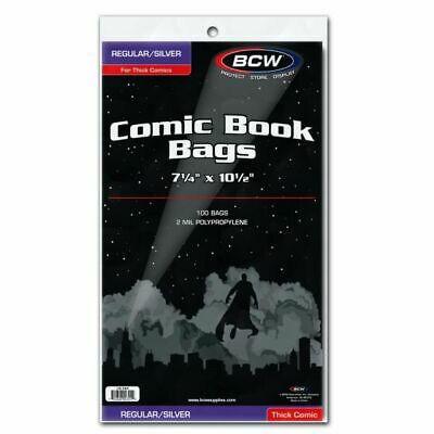 "(100) BCW Silver Age THICK Size Poly Comic Book Bags Acid Free 7 1/4"" x 10 1/2"""