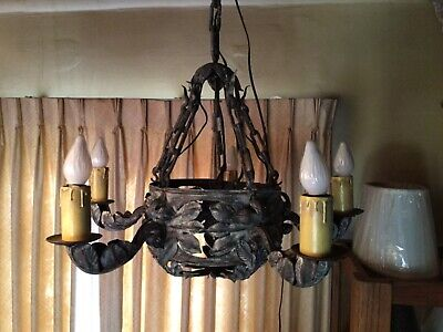 Antique French Hand Forged Leaf Motif Wrought Iron 5 Arm Chandelier and Chain