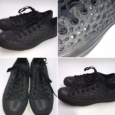 Converse Size 6 39 All Star Black Rhinestone Low Top Trainers Womens Girls