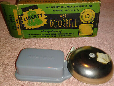 """Vtg NOS The Liberty Bell Manufacturing Co. Doorbell 2.5"""" Bell Chime No. 2002"""