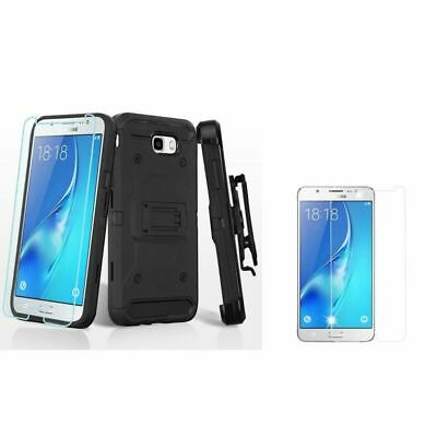 For Samsung Galaxy J7 (2017/Perx/Sky Pro/V Holster Case w/Glass Screen Protector