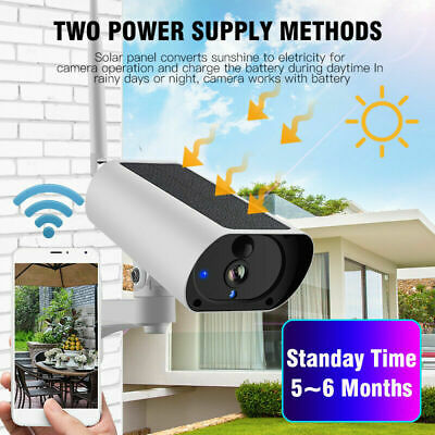 Solar Powered Security Camera IP 67 Wifi Wireless IR HD 1080P Outdoor Waterproof