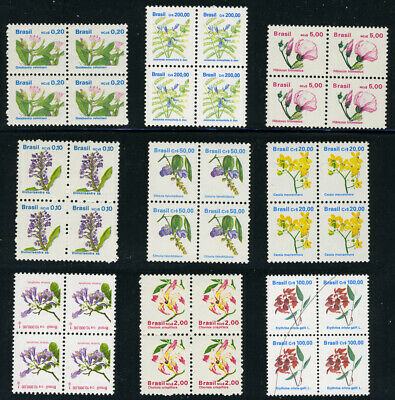 BRAZIL Flowers: 9 Different Blocks of 4 Definitive Stamps MNH (W15)