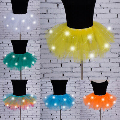 Women Girls LED Light Up Skirt Dance Mini Skirt Tutu Skirt Fancy Party Dress AU
