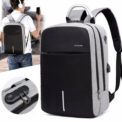 Large Capacity Men Oxford Anti-theft Backpack USB Charging Fit 15.6 Laptop