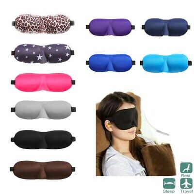 3D Eye Mask Travel Blindfold Shade Sleeping Aid Soft Cover Padded Night Eyepatch