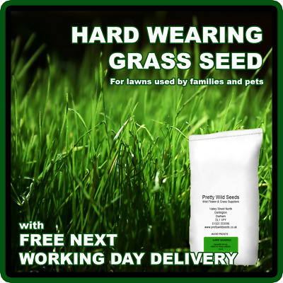 GRASS SEED PRO HARD WEARING BACK FRONT LAWN GARDEN PLAY AREAS KIDS DOGS 1-500kg