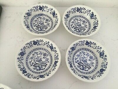 4 X Cereal Soup Dessert Enoch Wedgewood Heritage Blue And WhitE Onion Oval Bowls