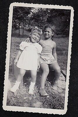 Antique Vintage Photograph Two Adorable Little Girls Sitting in Yard