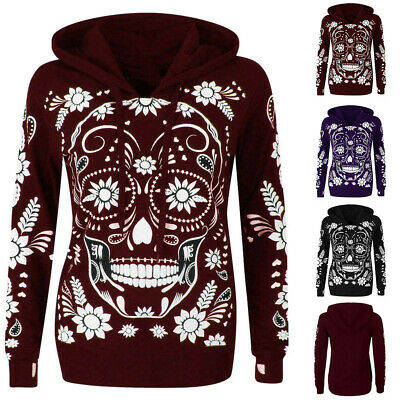 Women Plus Size Long Sleeve Skull Print Hooded Sweatshirt Pullover Blouse TopsCA