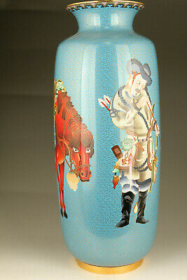 18inch hight cloisonne tradition culture hunting royal vase