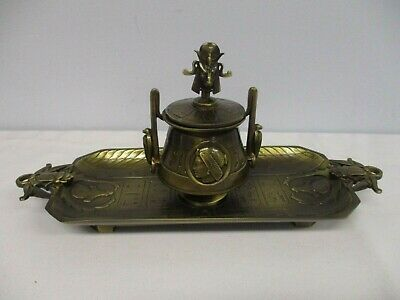 Heavy Bronze Egyptian Revival Inkwell Signed Hp