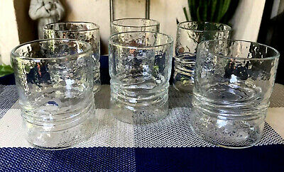 6pcs - Signed Esteban Prieto Clear Textured Art Glass Tumblers '80 '81 10oz