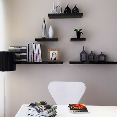 Wooden Floating Shelf Shelves Kit High Gloss Bookcase Storage Display Unit Home