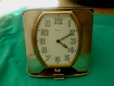 A LARGE SOLID STERLING ENGLISH SILVER HALLMARKED DATE 1919 TRAVELING CLOCK 8 day