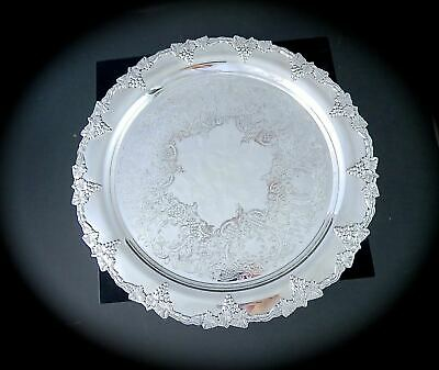 Vintage SHEFFIELD REPRODUCTION Silverplate ROUND TRAY Grape & Vine