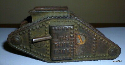 Antique WWI Cast Iron U.S. Tank Still Coin Bank