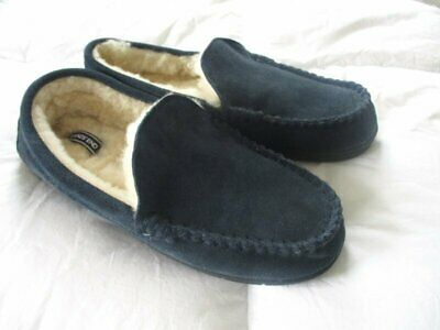 LANDS END Men's Navy Suede Leather Shearling Fur Moccasin Slippers 10