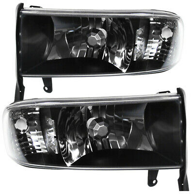 Black Housing Clear Lens Reflector Headlights Lamp For 1994-2001 Dodge Ram 1500