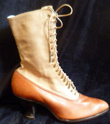 Vintage 1910s Edwardian BROWN & TAN LEATHER Lace Up Boots Size 4 Victorian